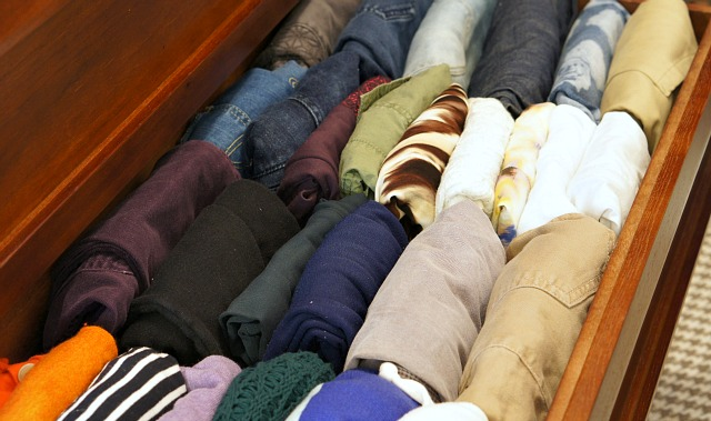 clothes folded in a drawer, the kon mari method