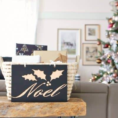DIY gold leaf Christmas sign Noel