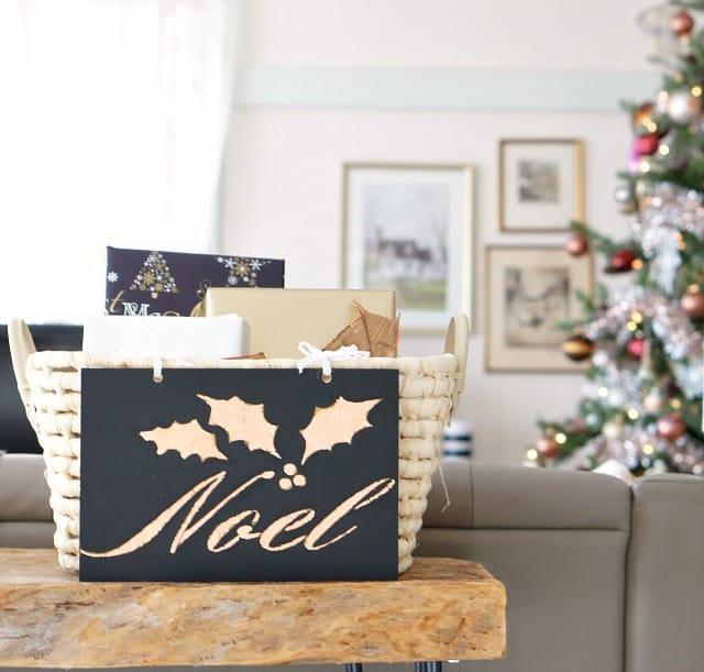 DIY gold leaf Christmas sign Noel