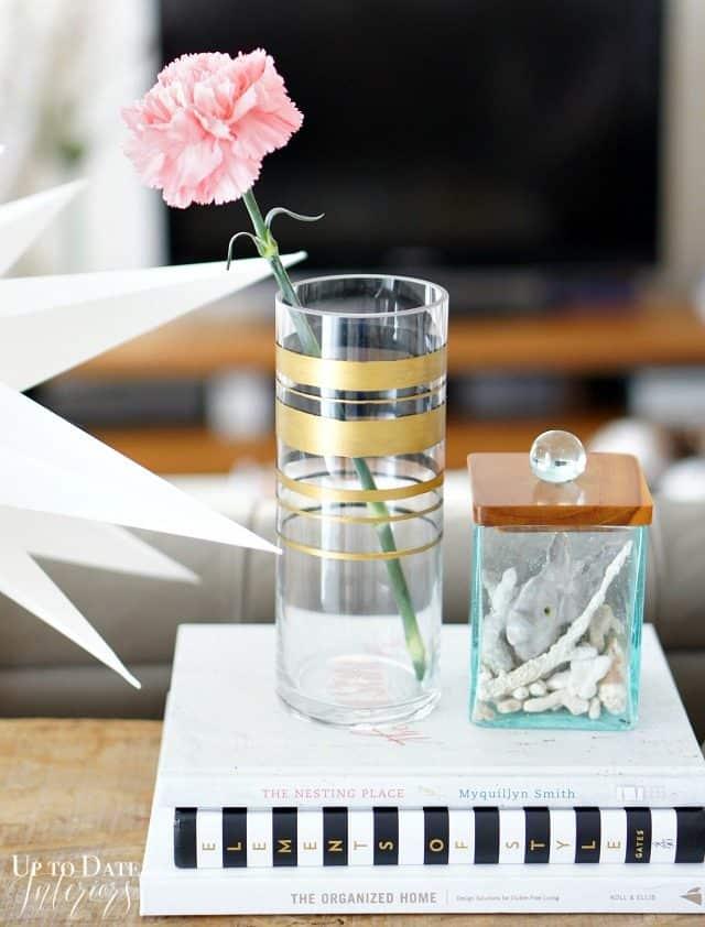 Inspired by Kate Spade gold band vase DIY