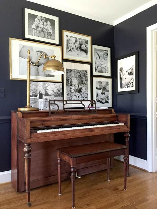 piano gallery wall family photo