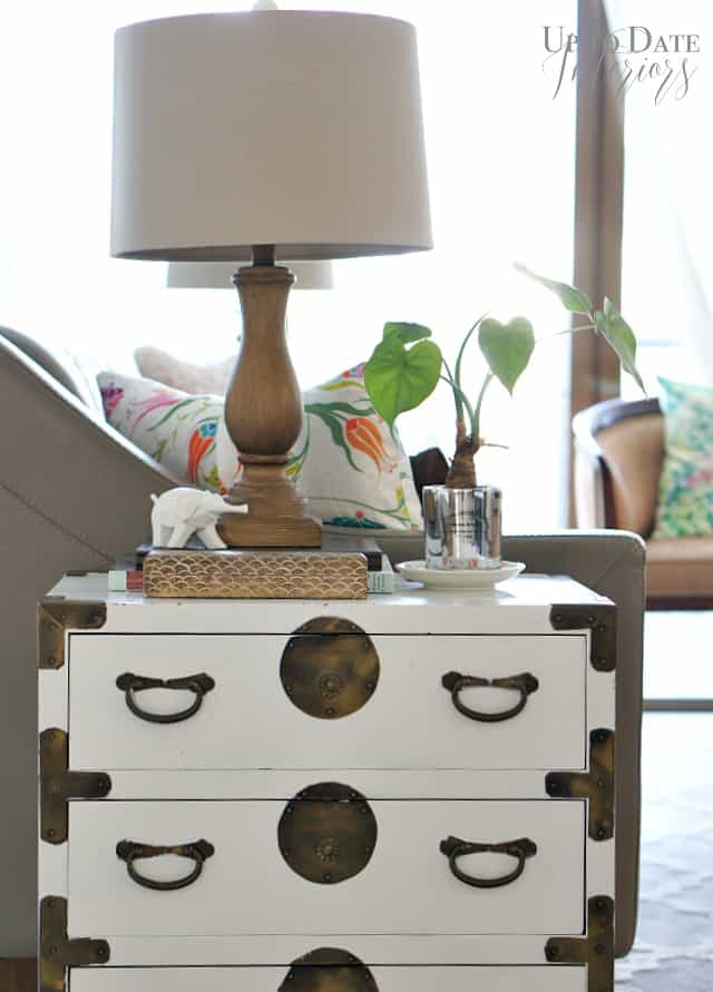 sofa table with plant