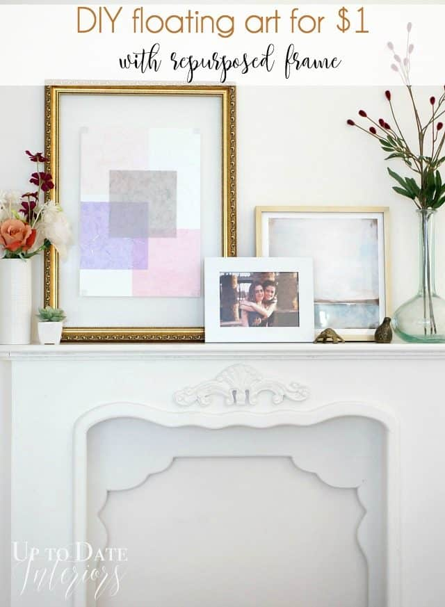 diy floating art for $1 with a repurposed frame using washi paper