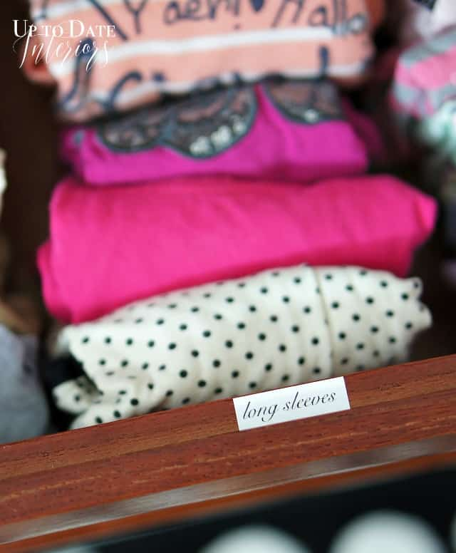clothes with labels for organization