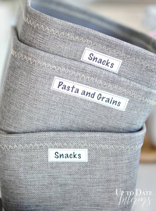 kitchen pantry bins with labels