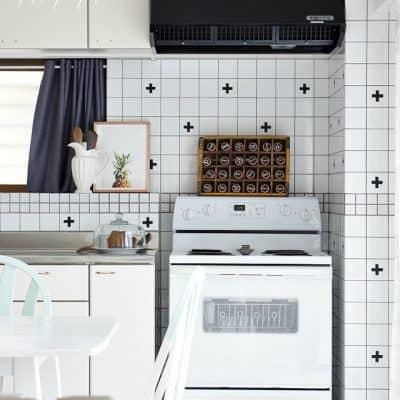 DIY swiss cross tiles renter friendly