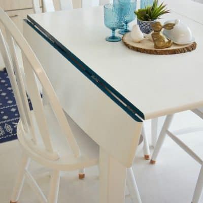 table makeover with copper legs