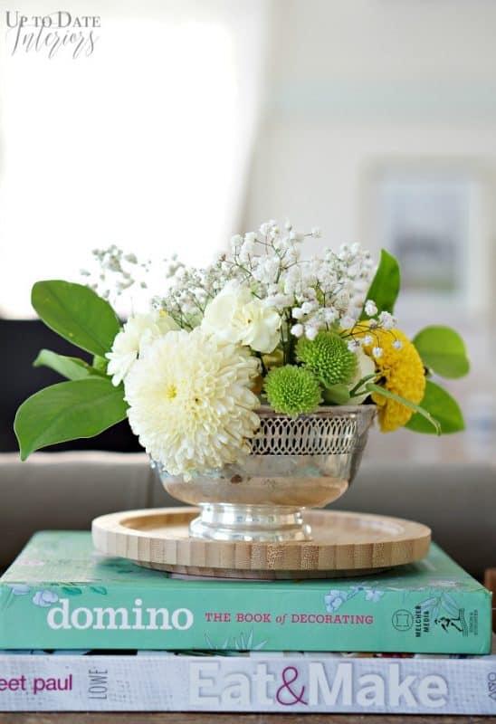 flower arrangement in thrifted bowl