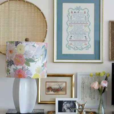 bedroom with floral lampshade