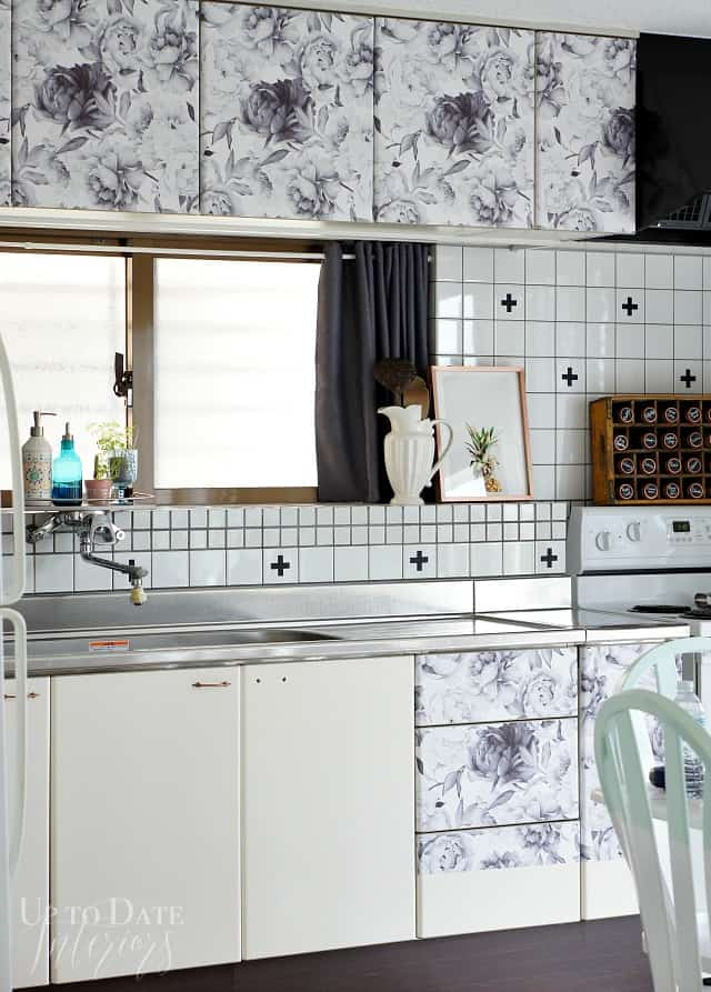 rental kitchen cabinets with removable wallpaper