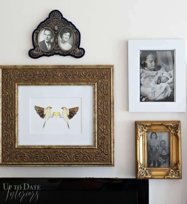 photo wall around dresser