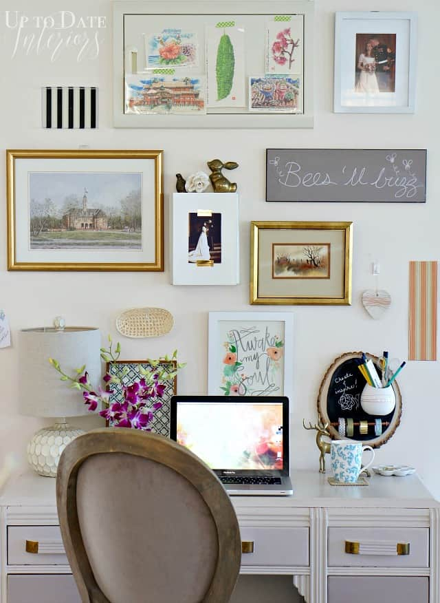 eclectic office wall in a rental