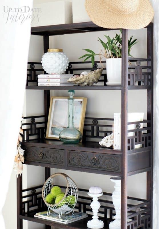 seaside-inspired-bookcase-tall shelf decor