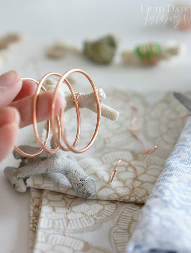 diy napkin rings with copper and coral