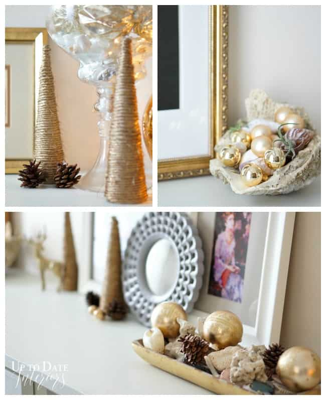 copper and pink Christmas decor