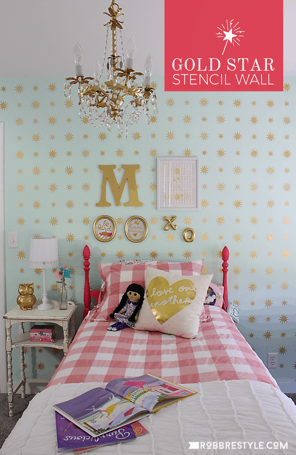 gold-star-stencil-wall-girls-bedroom