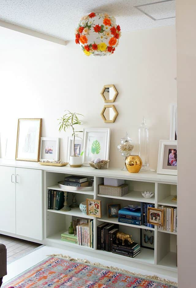rental foyer in Japan bright and colorful with a DIY floral lantern pendant