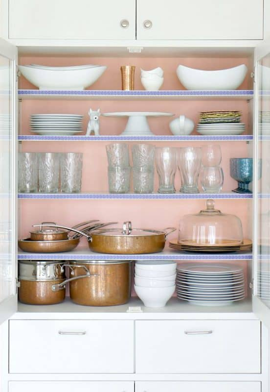 china cabinet makeover with washi and construction paper