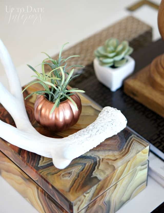 copper pumpkin planter and antler