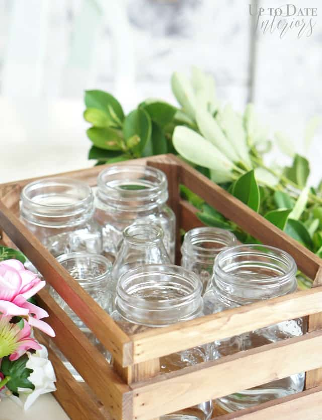 mason jars in wood crate centerpiece