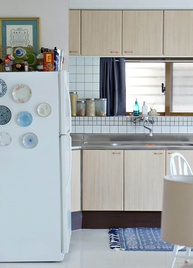 kitchen cabinet with contact paper