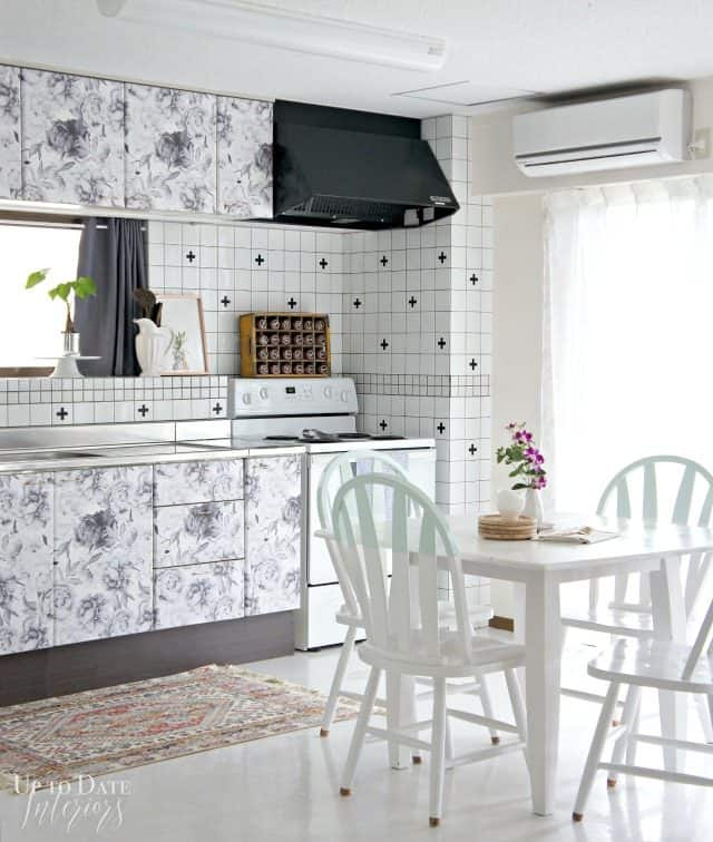 rental kitchen makeover with floral cabinets
