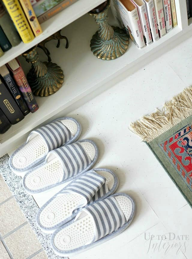 Japanese slippers in a Japanese foyer.