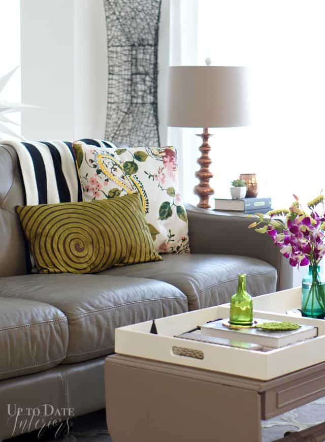 living room with florals