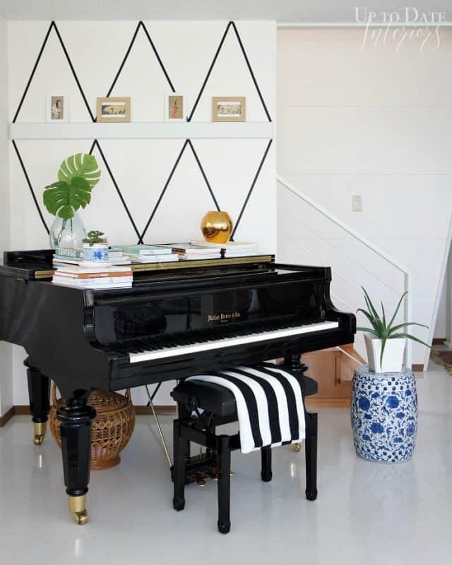 washi tape wall piano corner