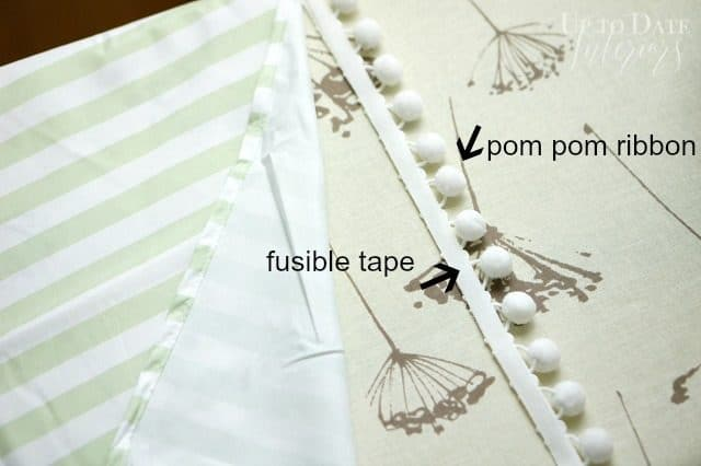 Attach pom pom trim with iron on fusible tape