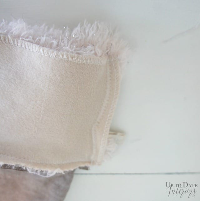fur cuff for DIY Christmas stocking with recycled cothes