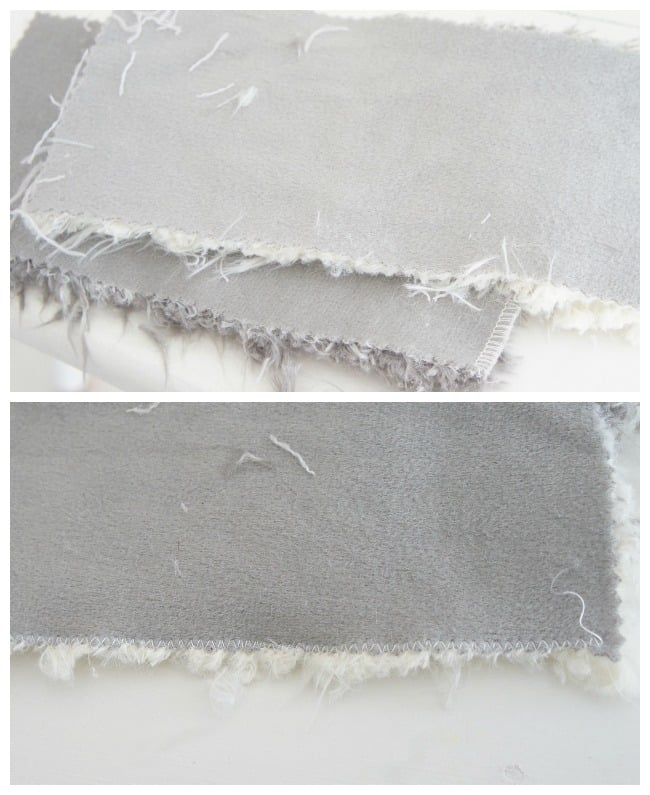 sew a zig zag seam to prevent fur fabric from shedding for your DIY Christmas stocking