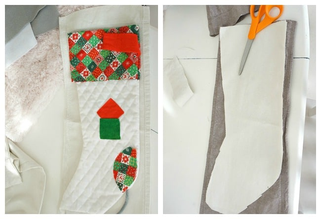 stocking template for DIY Christmas stocking with fur cuffs