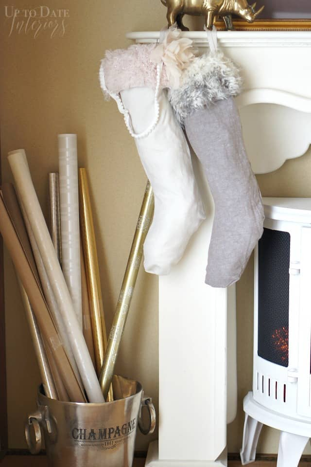 DIY Christmas Stockings from recycled clothes hanging on mantel