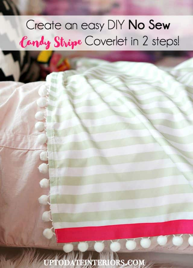 Create an easy DIY no-sew Candy Stripe Coverlet inspired by Serena and Lily