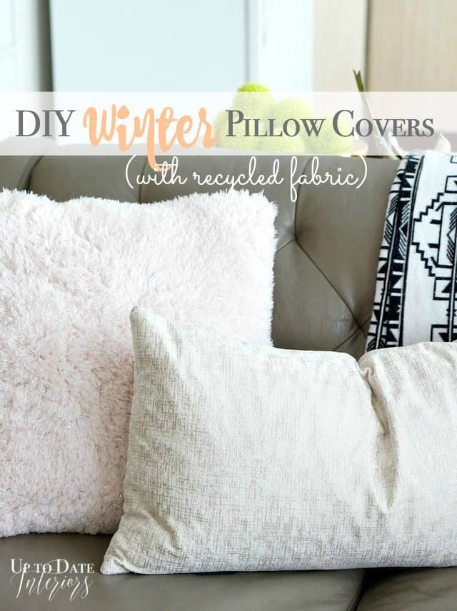 winter pillows with fur and recycled clothes