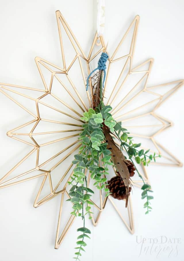 diy wreath holiday gold and green
