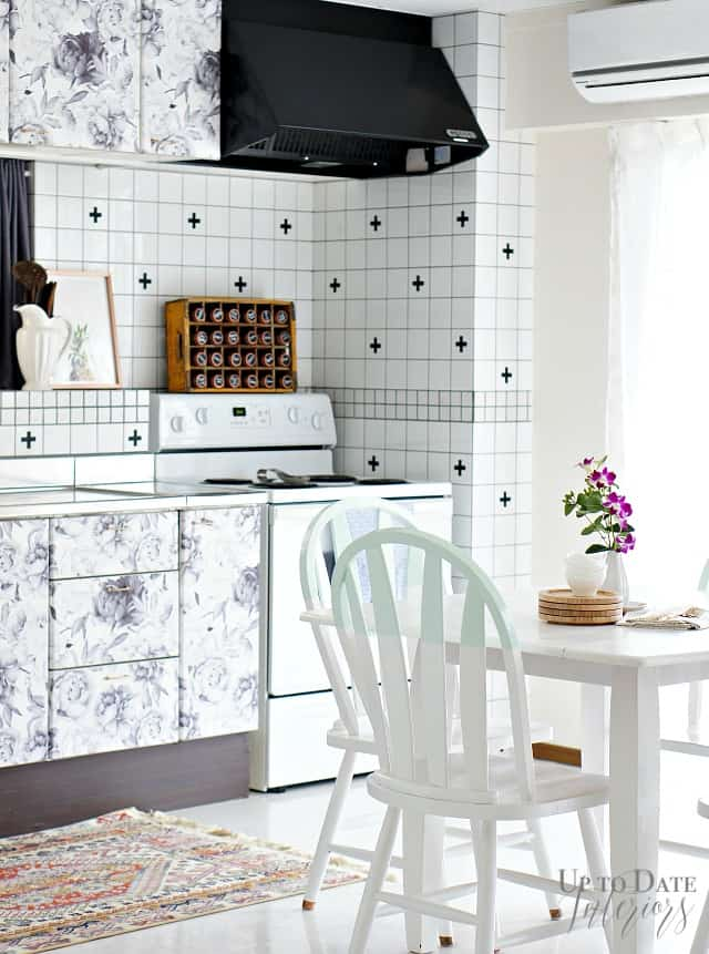 readers favorites renter kitchen makeover reveal with floral cabinets