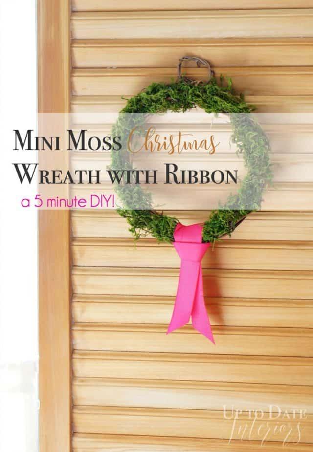 mini moss Christmas wreath with ribbon