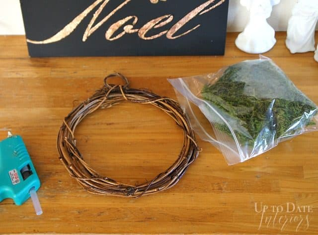 mini moss wreath supplies from dollar store