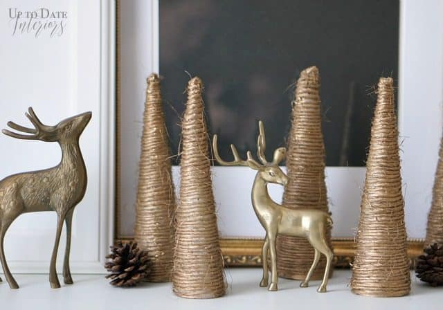 Try this easy Christmas diy gold twine cone trees