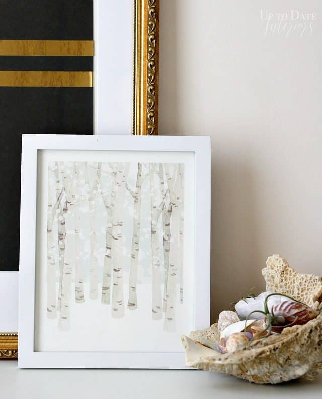 Add winter art with a birch tree print from minted