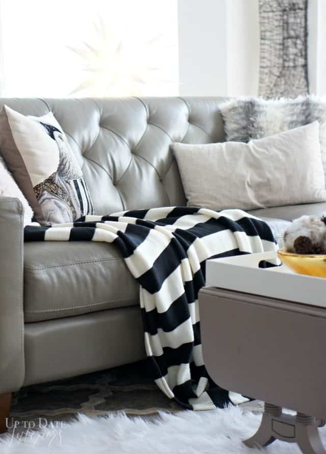 Use lots of cozy textiles for winter decor