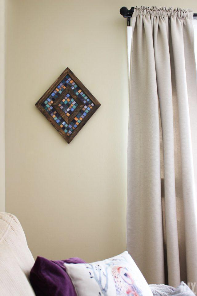 Diamond-Shaped-Wood-and-Mosaic-Wall-Art
