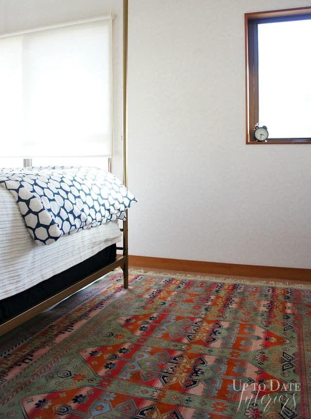 rental bedroom makeover with rug