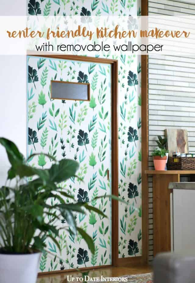 renter friendly makeover with removable wallpaper
