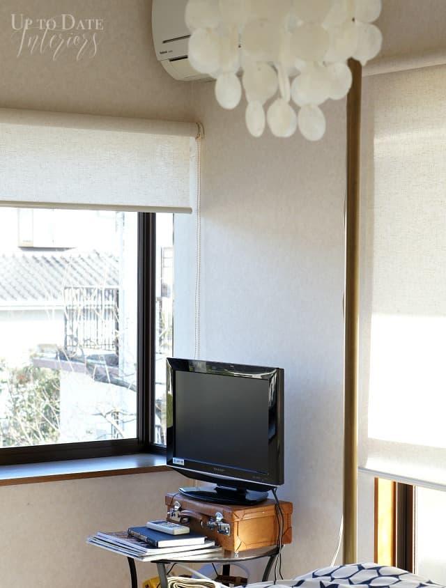 garden window and tv corner in Japanese rental home