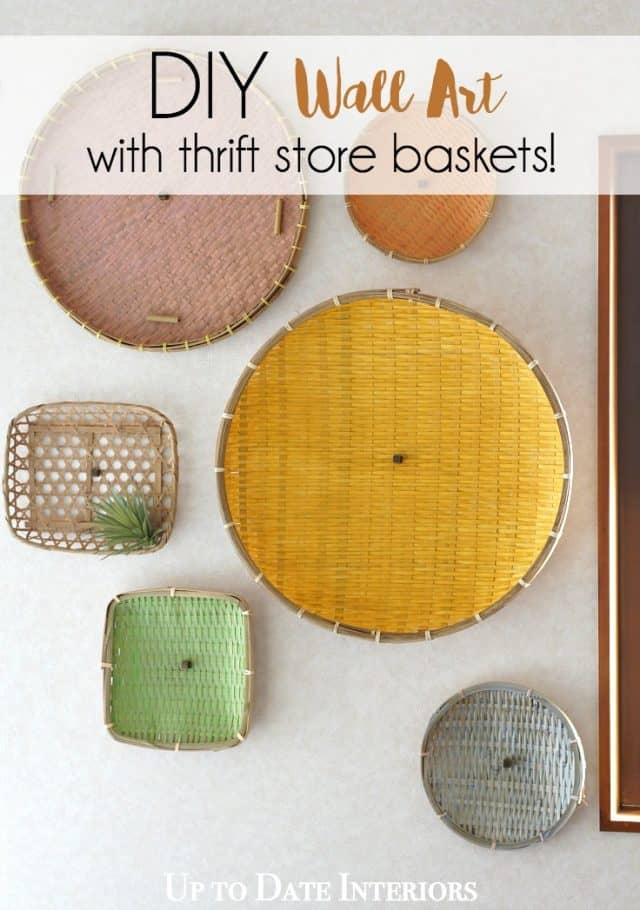 DIY wall decor with thrifted baskets, perfect for renters