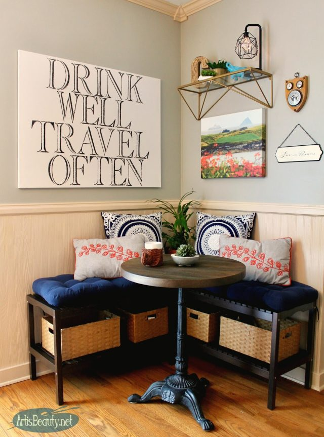 Diy eating nook using ikea benches and bistro table kitchen makeover bohemian decor eclectic design home style