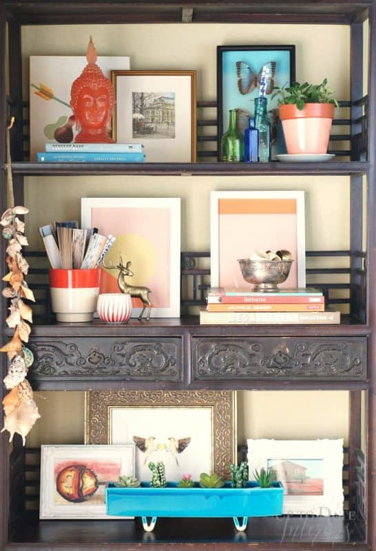bookcase styling inspired by Wes Anderson Life Aquatic